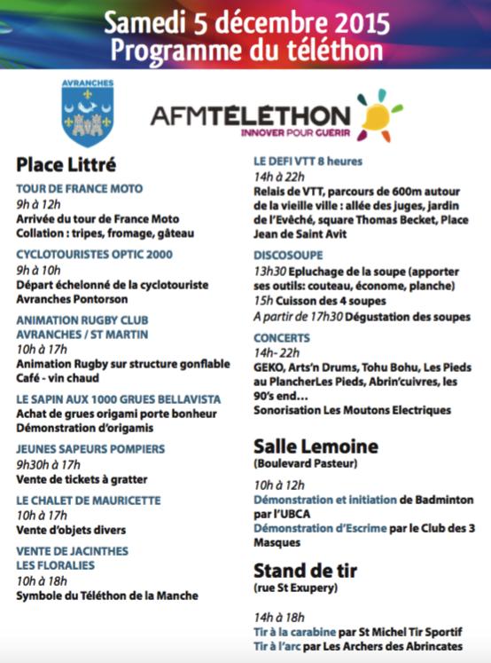 téléthon Avranches 5 décembre 2015 programme