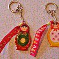 Porte-clefs matriochkas pour noël