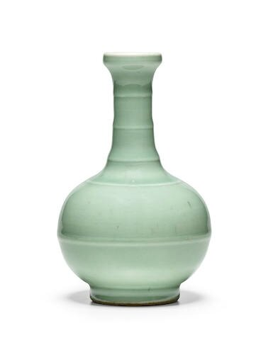 A Longquan celadon glazed 'bamboo' vase, 18th century