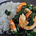 Crevettes aux épinards