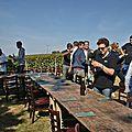 Le repas des vendanges dans les rangs de vigne.