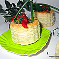 Petit panier feuilleté garni de crème de brocoli /spiruline/ poivrons