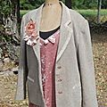 veste tweed -robe rose
