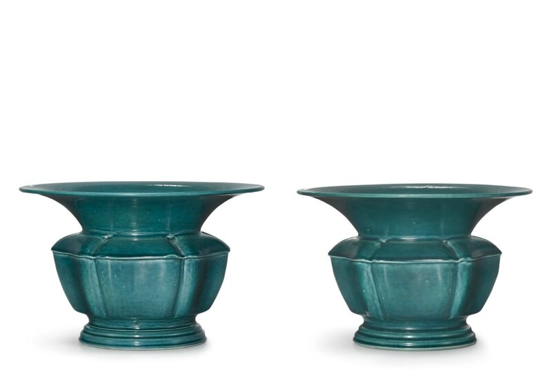 A pair of turquoise-glazed zhadou, Republican period