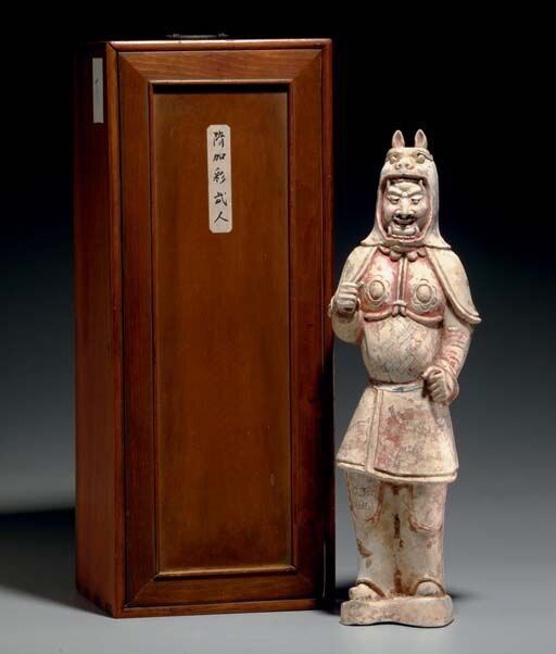 A_painted_pottery_figure_of_a_soldier__Sui_early_Tang_dynasty__6th_7th_century