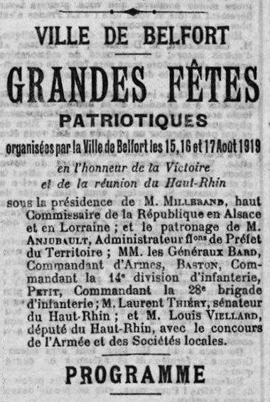 1919 08 10 Fêtes patriotiques La Frontière Programme