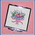Miroir de Sac Carré Brodé bouquet de Fleurs 6x6cm