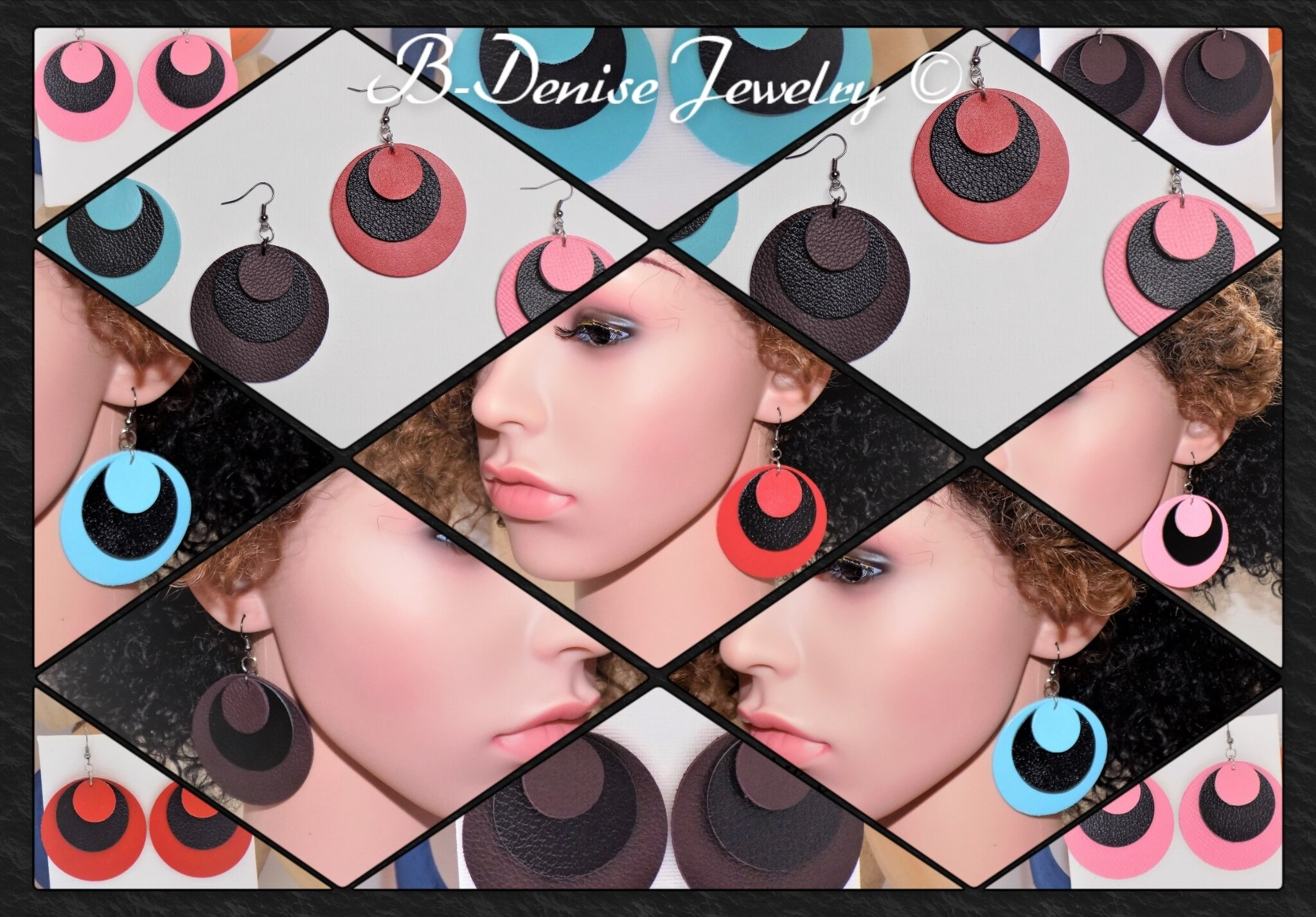 Original Handcrafted earrings in real leather !! ECLIPSE !! Red, Blue, Pink, Brown, in leather gun metal T:5 B-Denise Creation