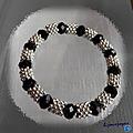 Bracelet perles crystal facettées semi plates noir 8 mm métal argenté elastique