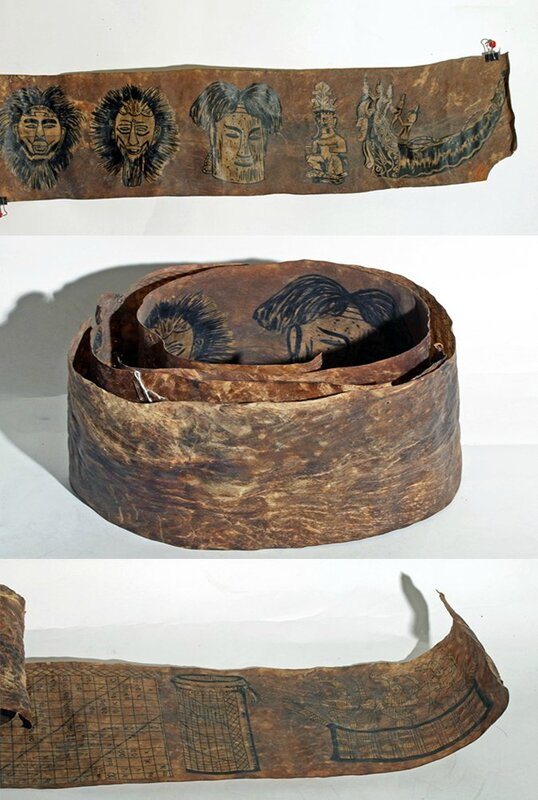 Two animal-skin scrolls, Oceanic, New Guinea or Molucca Islands, ca