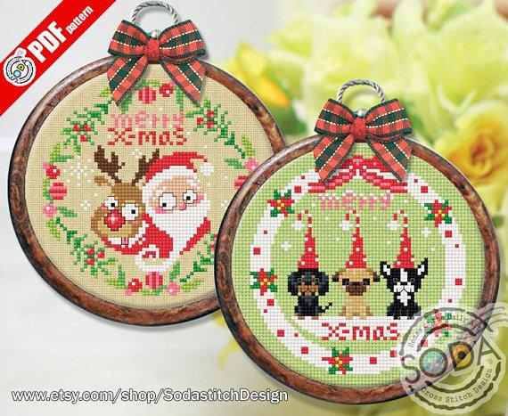 Santa and puppies 1