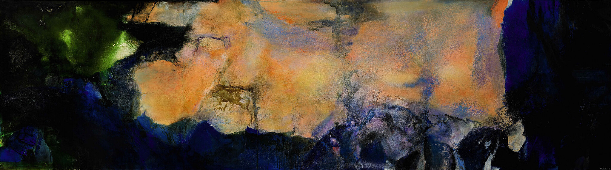 Image result for Zao Wou-Ki, Juin-Octobre 1985, oil on canvas (triptych), 280 x 1000 cm, 1985