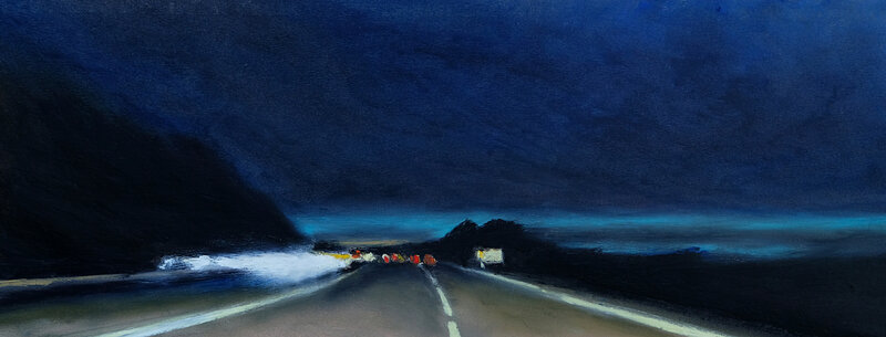lost highway at dusk, pastel à l'huile, 52 x 20 cm, mai 2019
