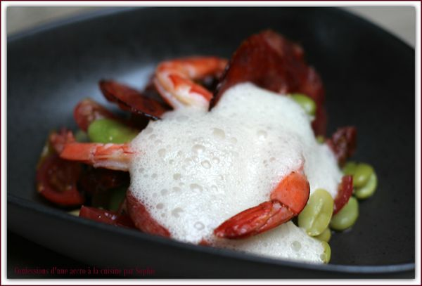 Salade fèves, chorizo, gambas, romarin 018