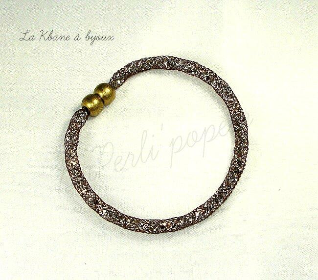 bracelet poussières d'étoiles brun fin 4 mm 1ere photo