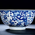 A blue and white 'squirrel and grapes' bowl, qianlong period, 1736-1795