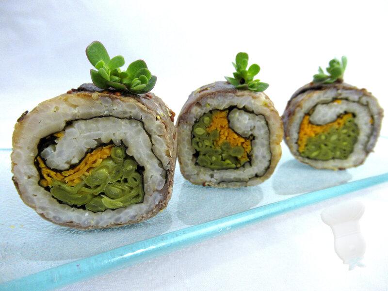 Uramaki de boeuf poêlé et sauce teriyaki à la moutarde