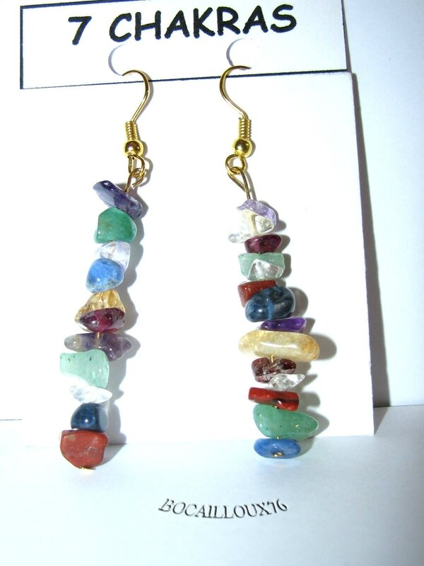 BOUCLE Oreille Baroque 7 CHAKRAS 3 - Crochets DORES