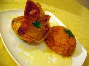 Aumonières de crevettes coco-curry