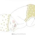 bébés dort jaune moutarde corps blanc