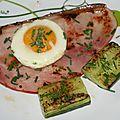 Jambon grillé madame et concombre à la plancha