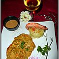 Gambas sauce curry et sa timbale de purée