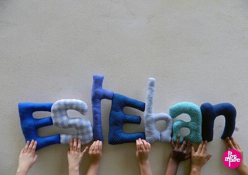 esteban,mot en tissu,mot decoratif,cadeau de naissance,decoration chambre d'enfant,cadeau personnalise,cadeau original,poc a poc blog