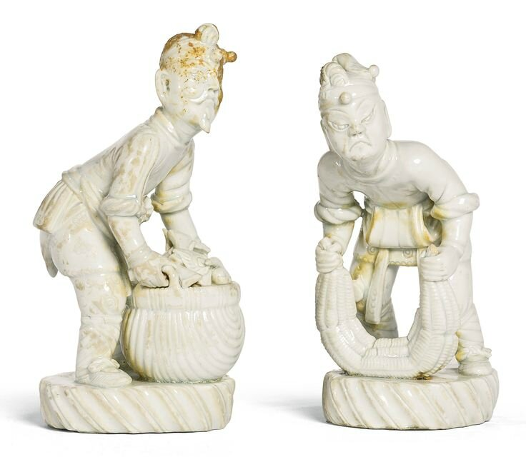 A rare pair of Qingbai figures, Song dynasty