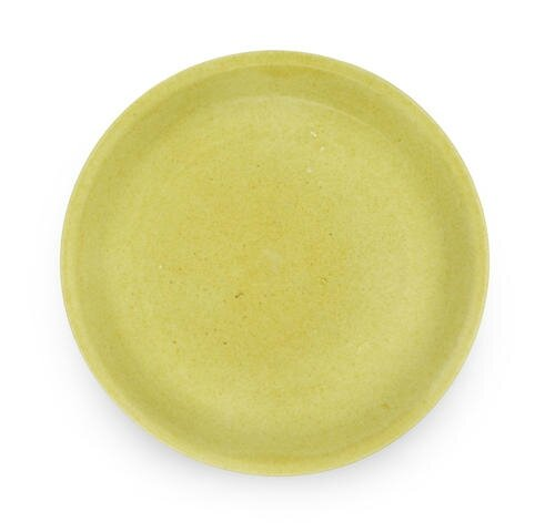 A rare yellow-glazed saucer dish, Wanli six-character mark and of the period (1573-1619)