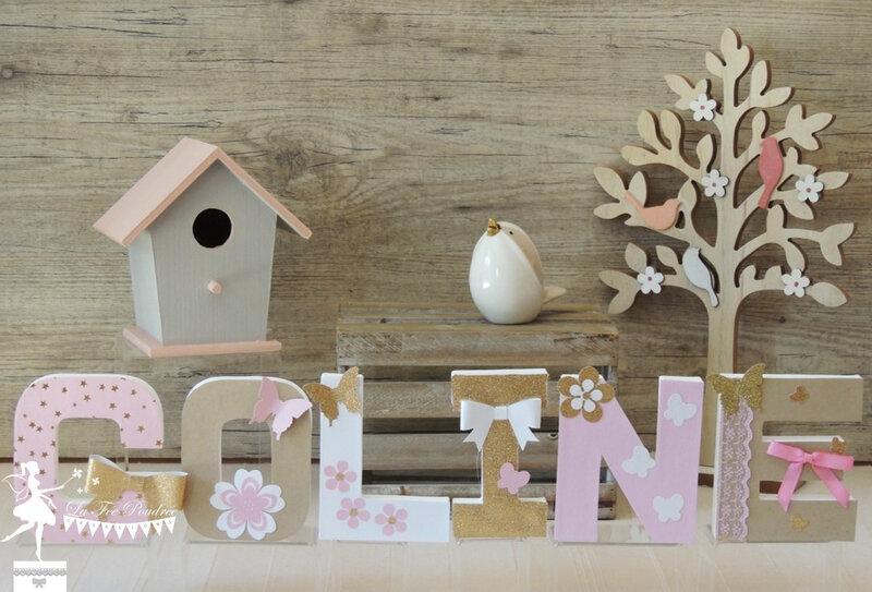 Lettre décorée prénom enfant cadeau baptême naissance thème fleur papillon2