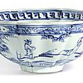 A blue and white lobed 'figures and lança characters' bowl, ming dynasty, 15th century, interregnum period (1436-1464)