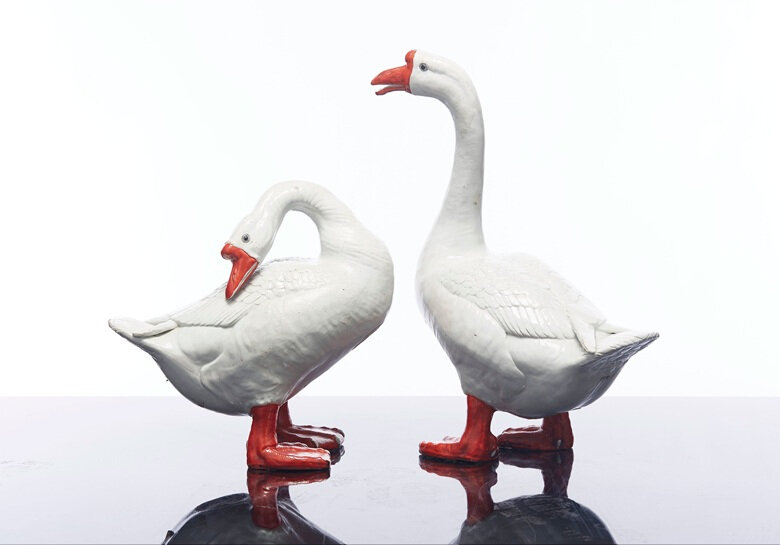 A massive pair of geese, late 18thearly 19th century