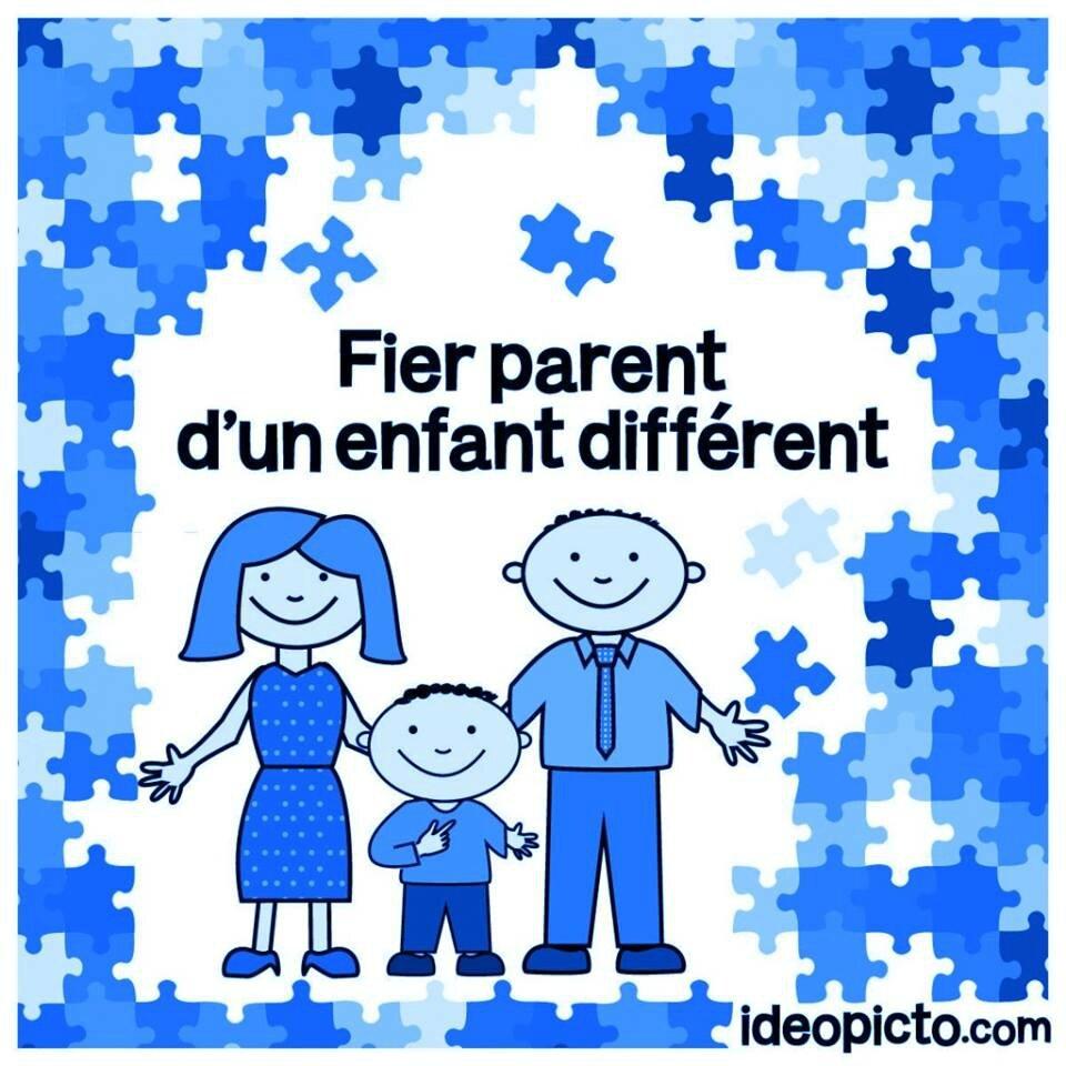 fier d'être parents d'un enfant différent version bleue
