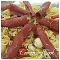 Salade de farfalles,bresaola,tomates et mozzarella