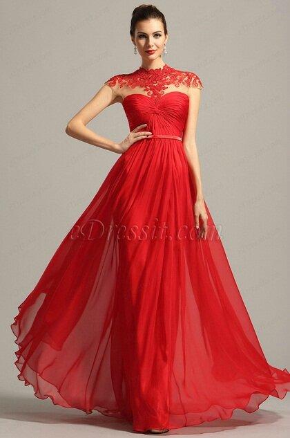 Robe de soirée longue rouge avec dentelle - Photo de Nouvelle ... 40dfb66c65ab
