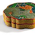 Rare boîte couverte en laque polychrome sculpté, dynastie qing, xviiie siècle