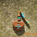 Grigri Coeur pour Haïti (fimo et perles en bois, fimo ou verre)
