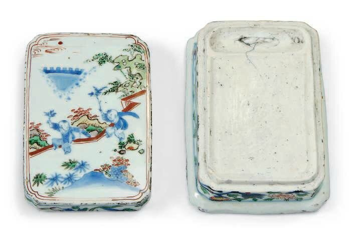 A Chinese wucai ink box and matched cover , late Ming dynasty