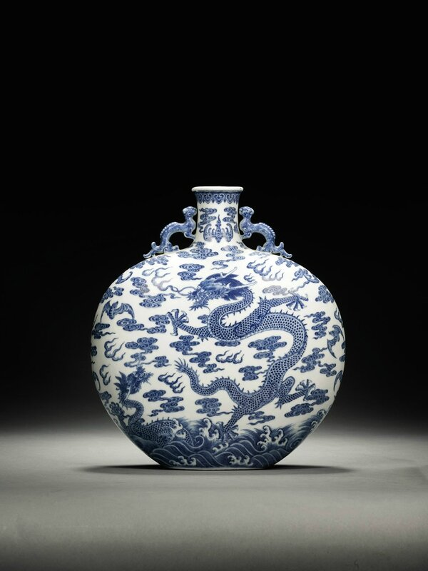 A Blue and White 'Dragon' Moonflask, Qing dynasty, Qianlong period. Dimensions: 29.5cm (11 5/8 in.). Auction: Fine Chinese Ceramics and Works of Art, Wednesday, 6 November 2013. New Bond Street, London. Photo courtesy Sotheby's.