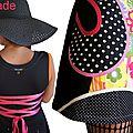 Miss Météo sous un ciel Pop 70's : Robe maille Noire écru Fuchsia Orange Look Graphique à pois & imprimé Fleurs 70's
