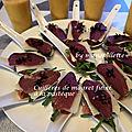 Carpaccio de magret fumé, pastèque et basilic thaï
