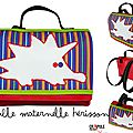 Cartable maternelle original hérisson garçon /fille simili cuir rouge /coton rayures multicolores plein de pep's