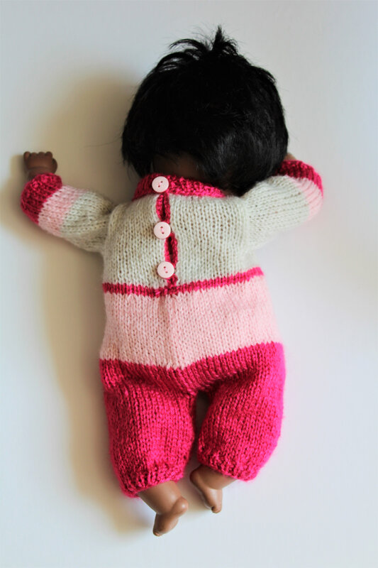 Overall et pull sans manches rose (30 cm) (4)