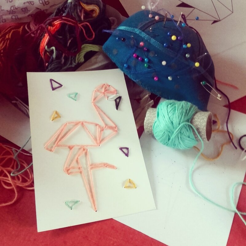 broderie-origami-flamingo