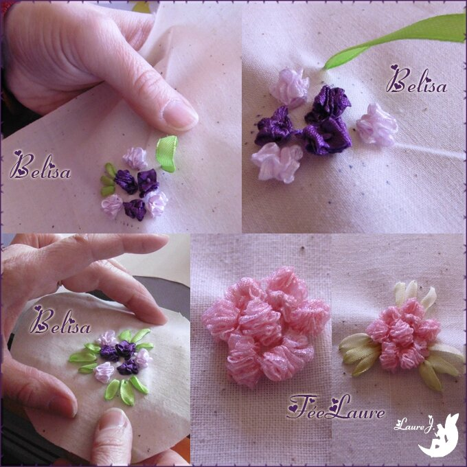 mosaïque fleurs au ruban