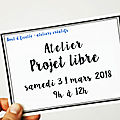 Atelier couture - projet libre - samedi 31 mars 2018