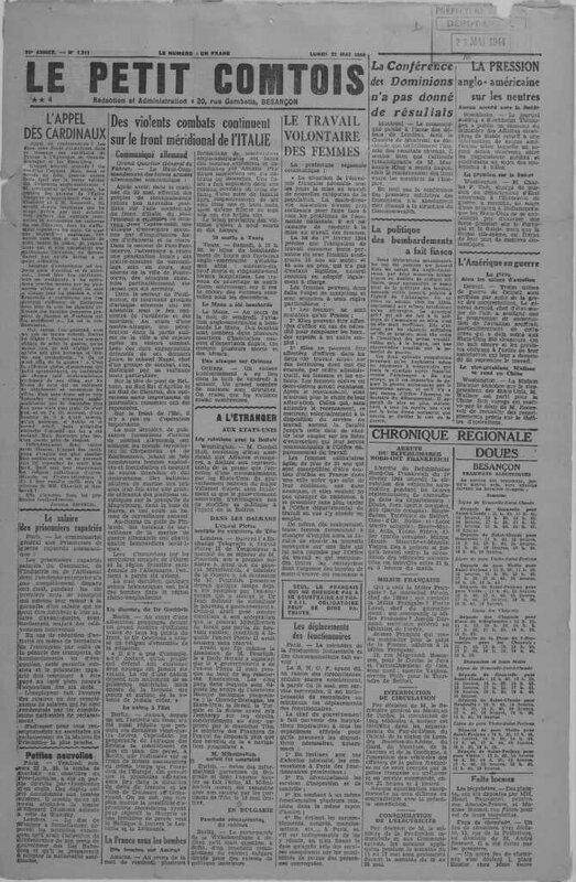 le Petit Comtois dernier n° 22 mai 1944)