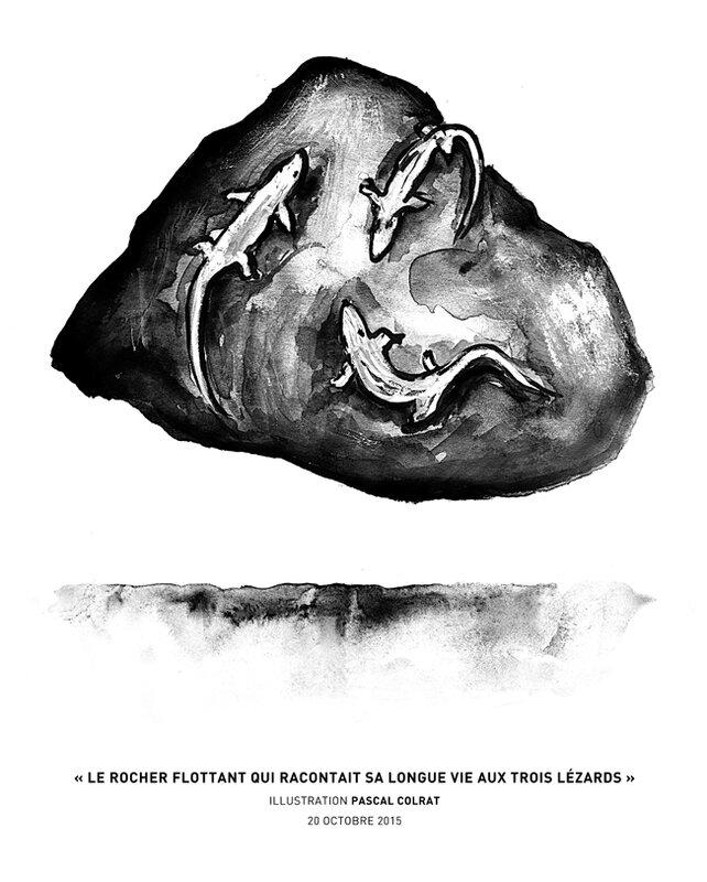 le rocher flottant qui racontait sa longue vie aux trois lézards