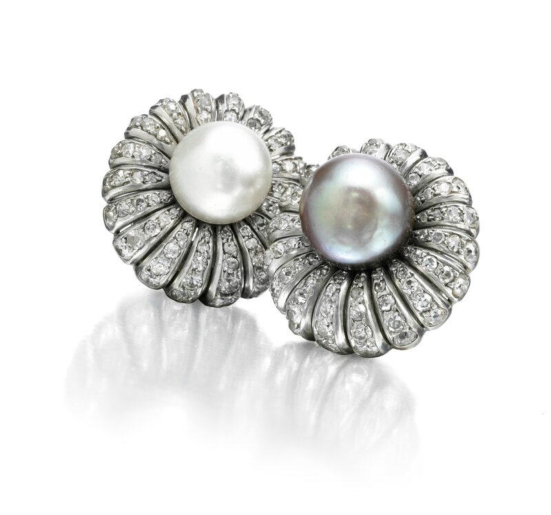 A Pair of Natural Pearl and Diamond Ear Clips, by Madame Suzanne Belperron, circa 1950s