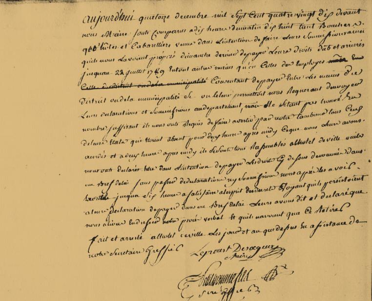 Le 14 décembre 1790 à Mamers : perception des droits d'aide (suites et…fin ?).